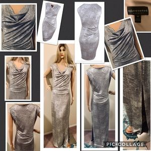Connect Long Silver Metallic Dress